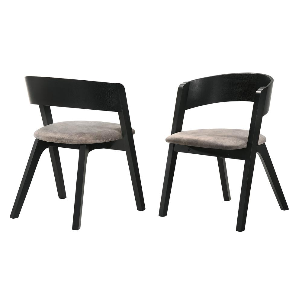 Jackie Mid-Century Modern Dining Accent Chairs in Black Ash Finish and Brown Fabric - Set of 2. Picture 1