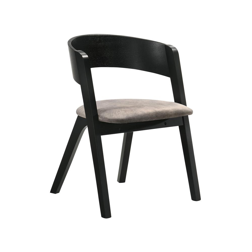 Jackie Mid-Century Modern Dining Accent Chairs in Black Ash Finish and Brown Fabric - Set of 2. Picture 2