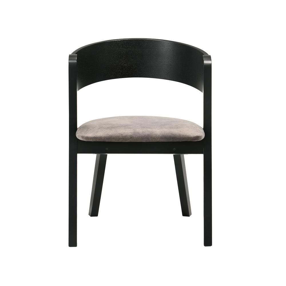 Jackie Mid-Century Modern Dining Accent Chairs in Black Ash Finish and Brown Fabric - Set of 2. Picture 3