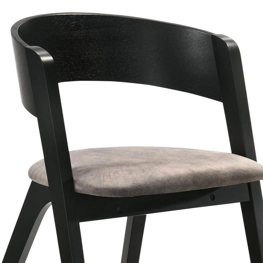 Jackie Mid-Century Modern Dining Accent Chairs in Black Ash Finish and Brown Fabric - Set of 2. Picture 5