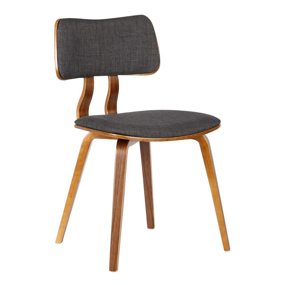 Mid-Century Dining Chair in Walnut Wood and Charcoal Fabric. Picture 1