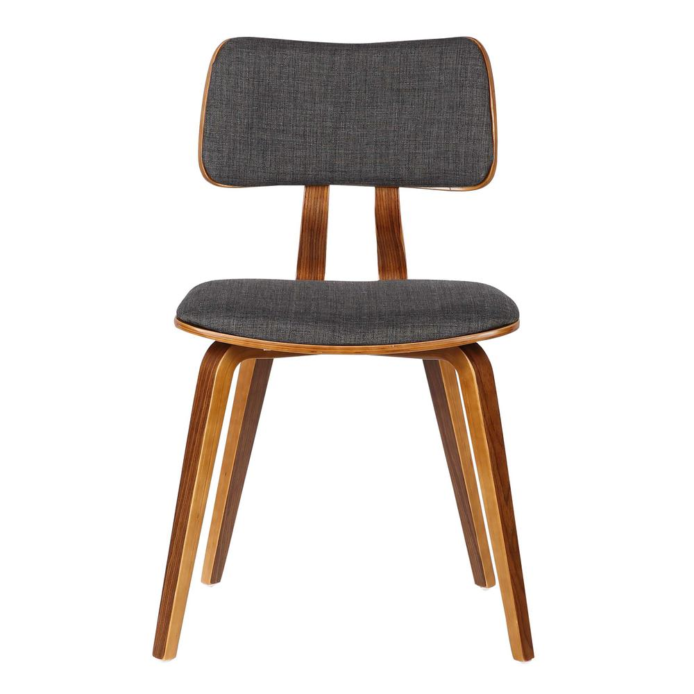 Mid-Century Dining Chair in Walnut Wood and Charcoal Fabric. Picture 2