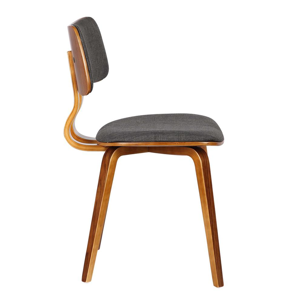 Mid-Century Dining Chair in Walnut Wood and Charcoal Fabric. Picture 3