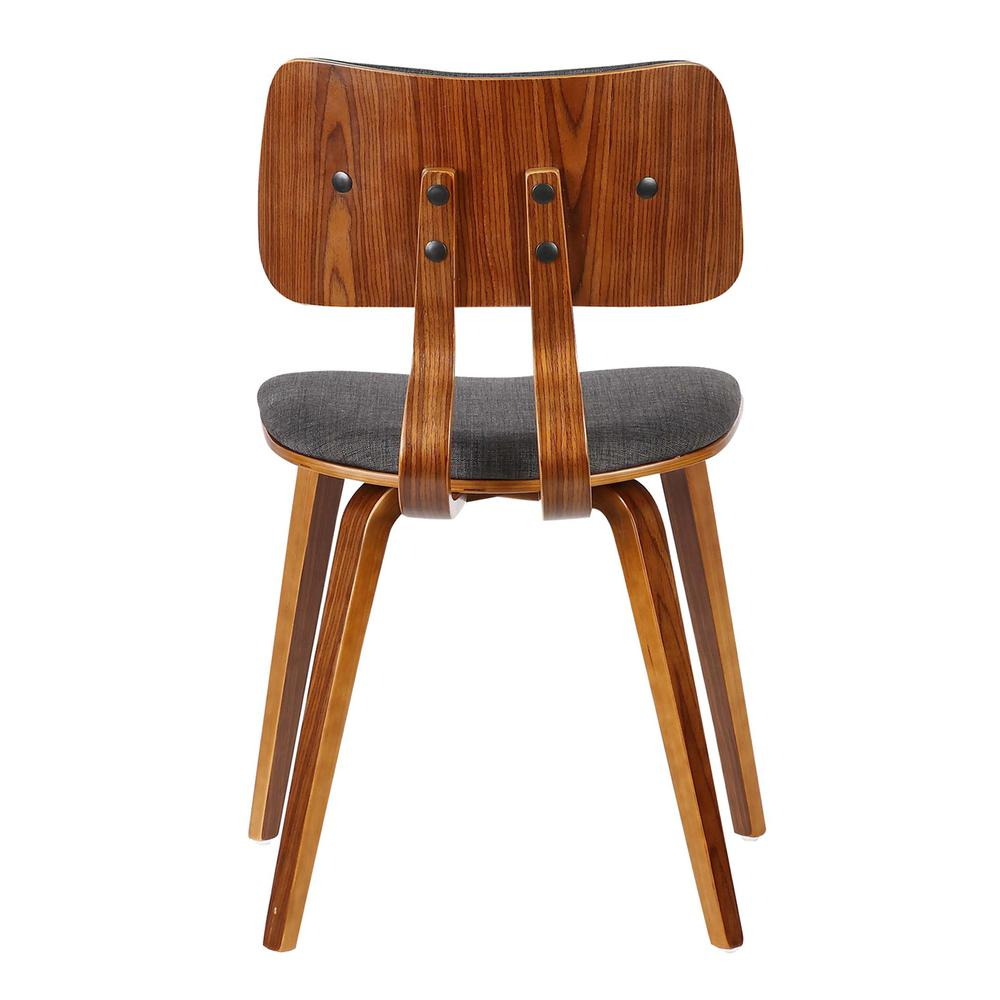 Mid-Century Dining Chair in Walnut Wood and Charcoal Fabric. Picture 4