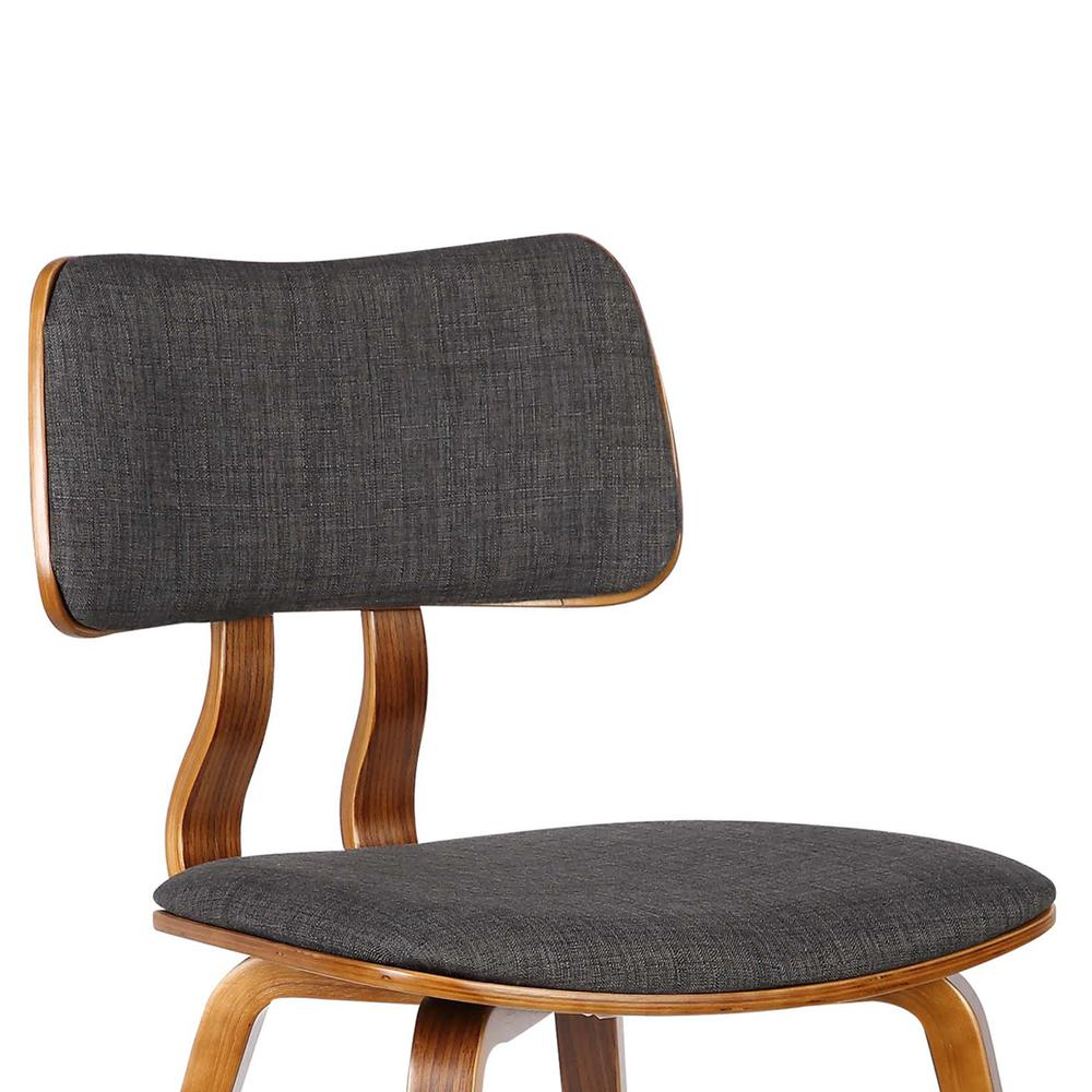 Mid-Century Dining Chair in Walnut Wood and Charcoal Fabric. Picture 5