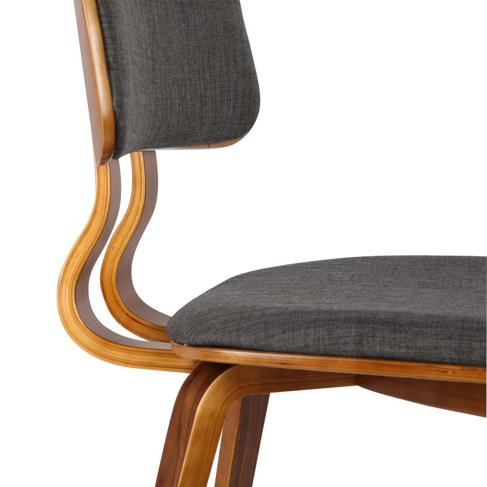 Mid-Century Dining Chair in Walnut Wood and Charcoal Fabric. Picture 6