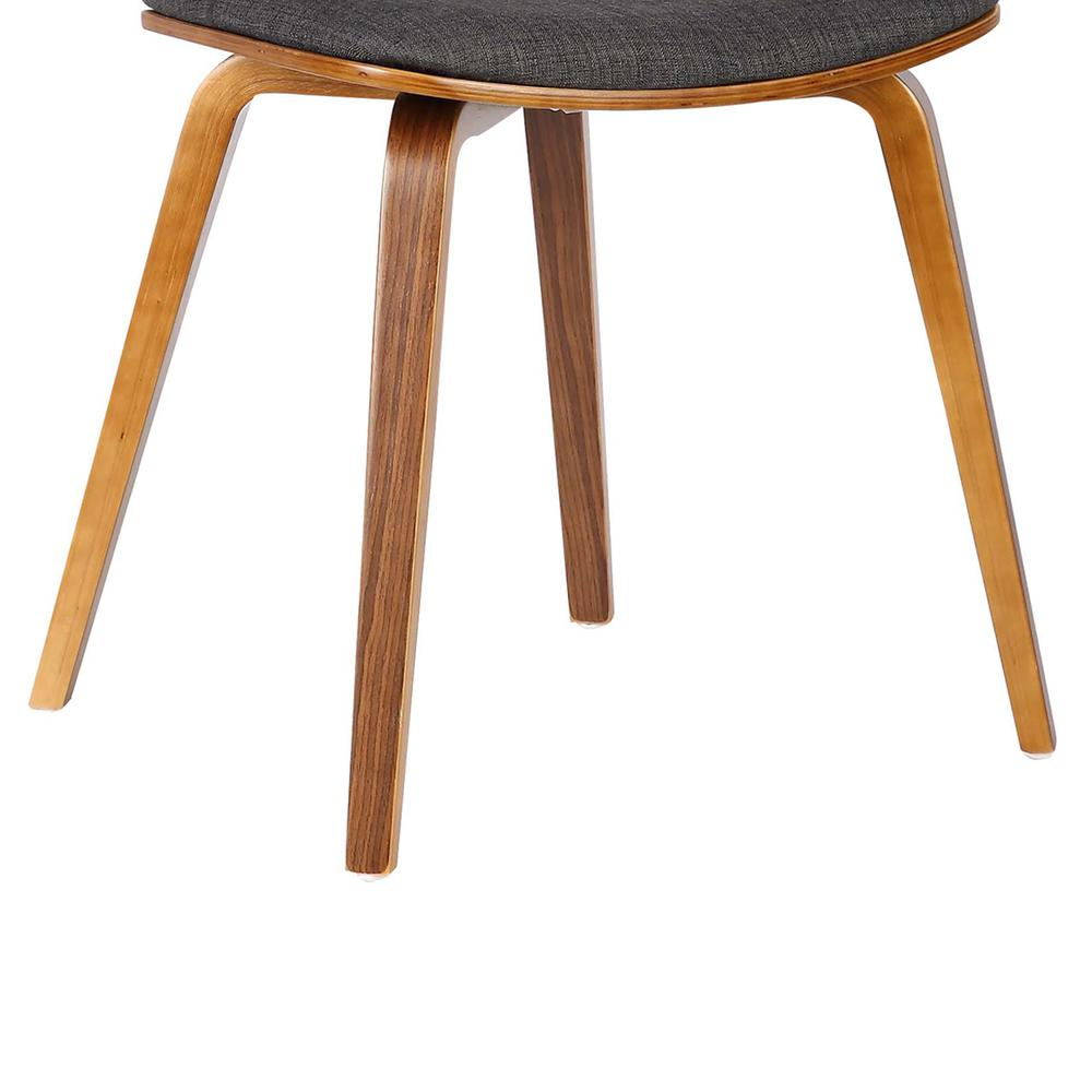 Mid-Century Dining Chair in Walnut Wood and Charcoal Fabric. Picture 7