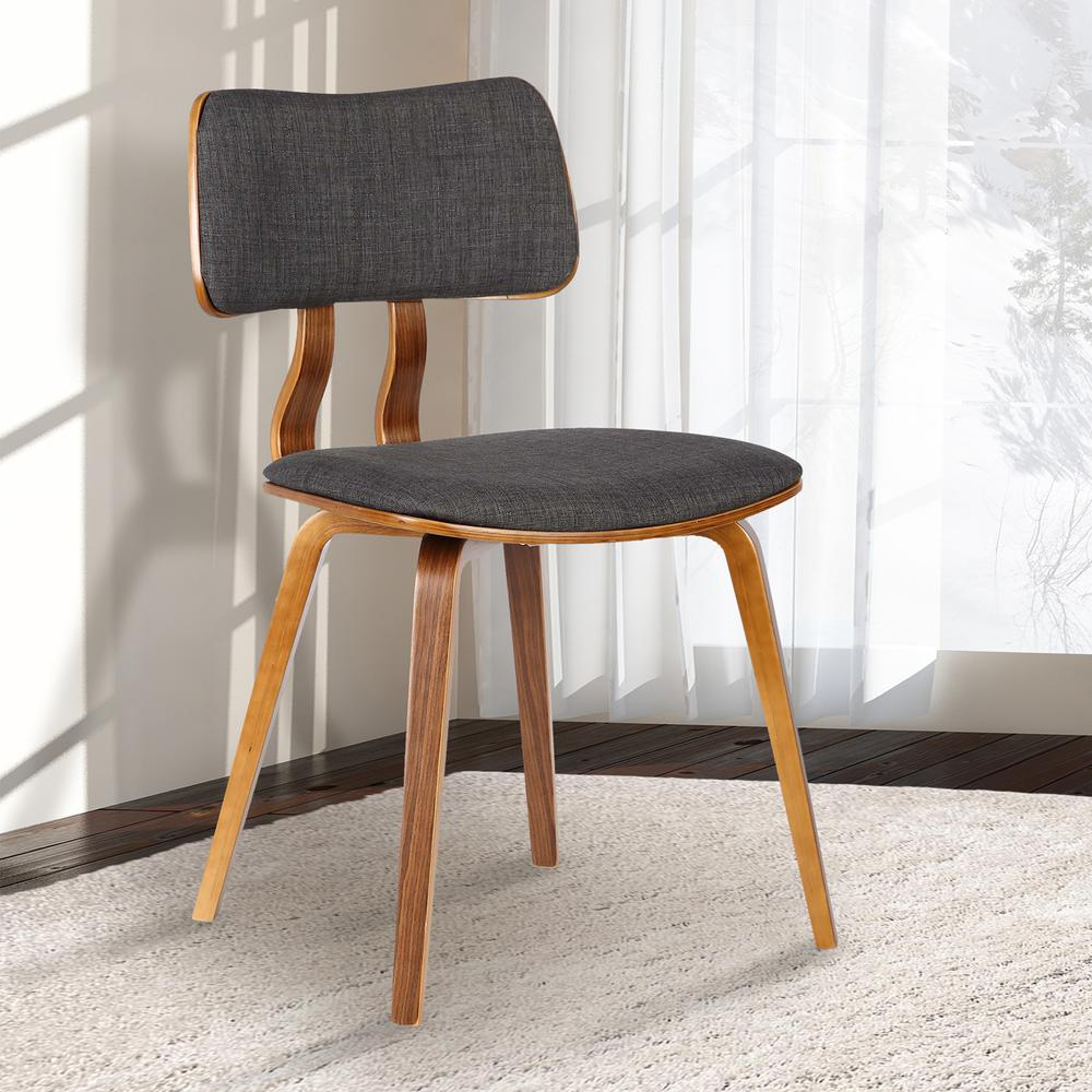 Mid-Century Dining Chair in Walnut Wood and Charcoal Fabric. Picture 8