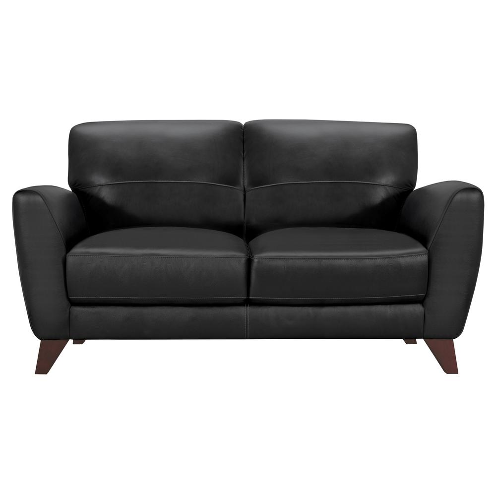 Contemporary Loveseat in Genuine Black Leather with Brown Wood Legs. Picture 1