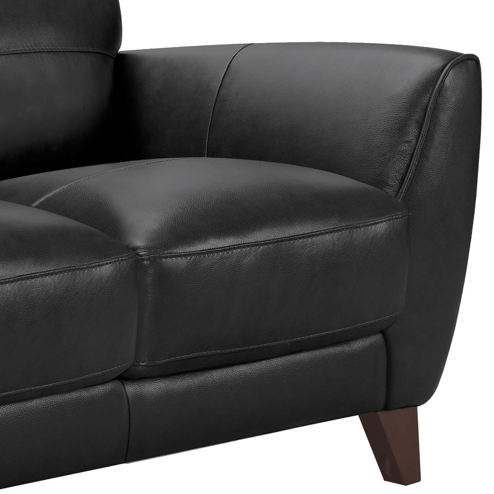 Contemporary Loveseat in Genuine Black Leather with Brown Wood Legs. Picture 3