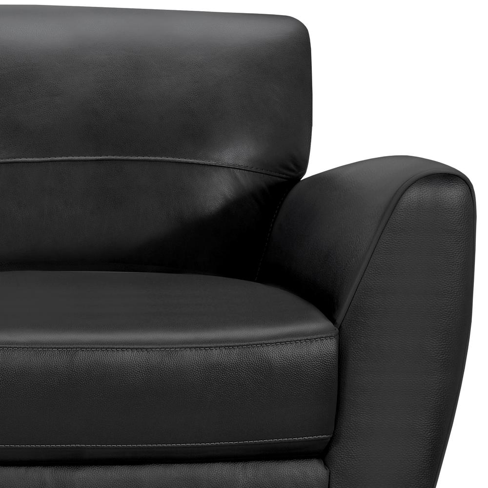Contemporary Loveseat in Genuine Black Leather with Brown Wood Legs. Picture 4