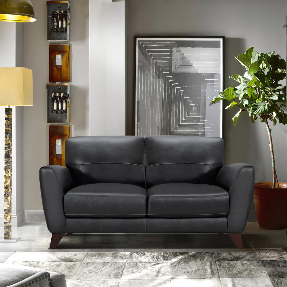 Contemporary Loveseat in Genuine Black Leather with Brown Wood Legs. Picture 5