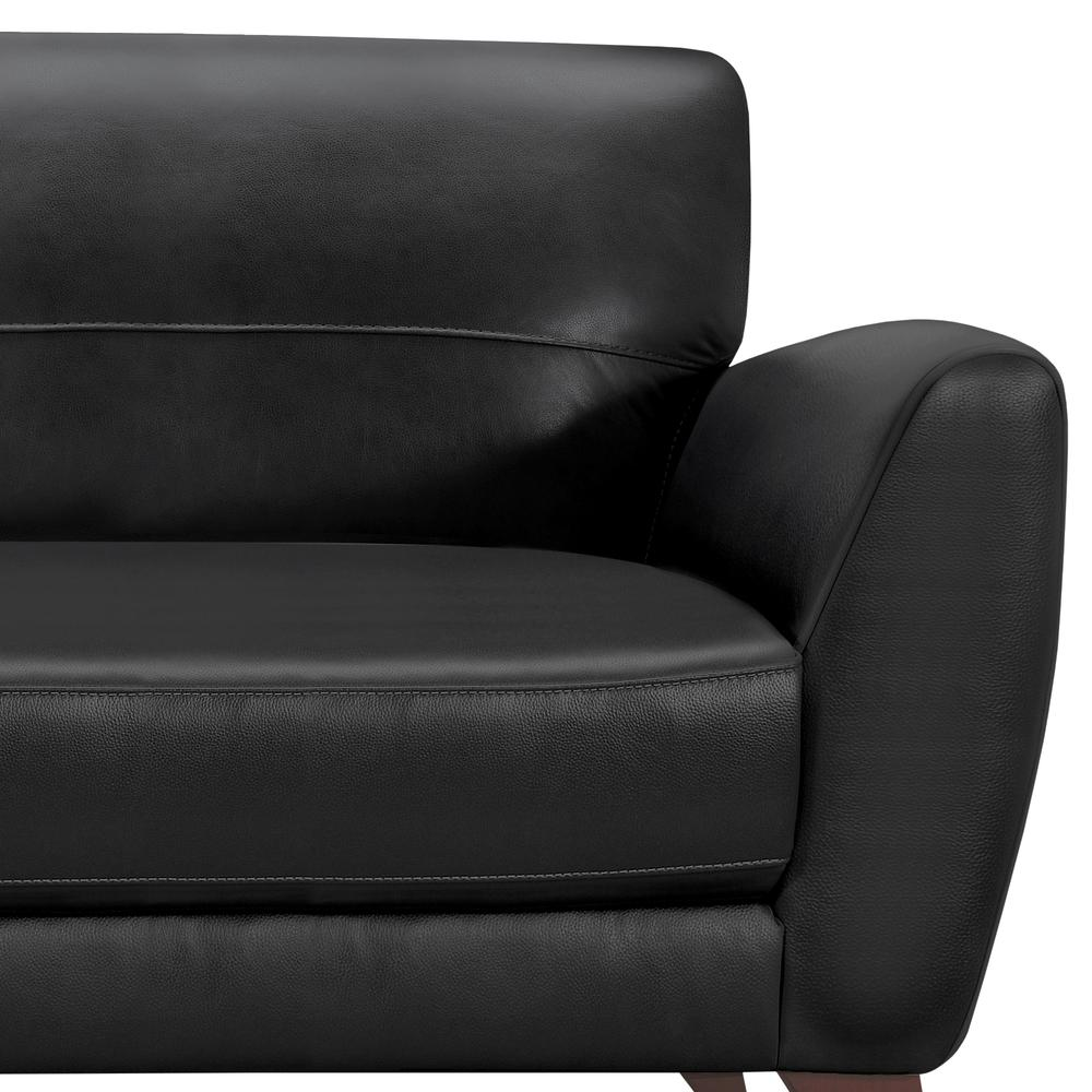 Jedd Contemporary Sofa in Genuine Black Leather with Brown Wood Legs by  Armen Living