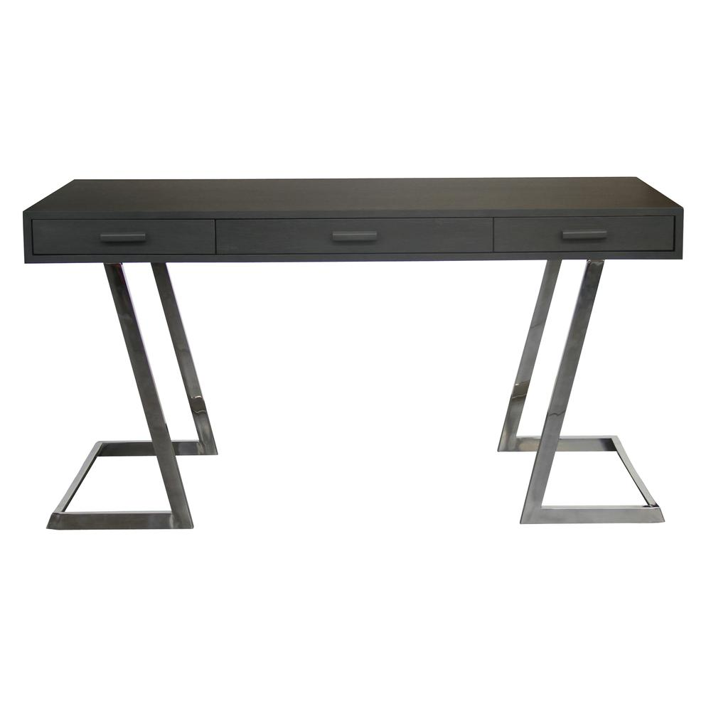Armen Living Juniper Contemporary Desk with Polished Stainless Steel Finish and Grey Top. Picture 1