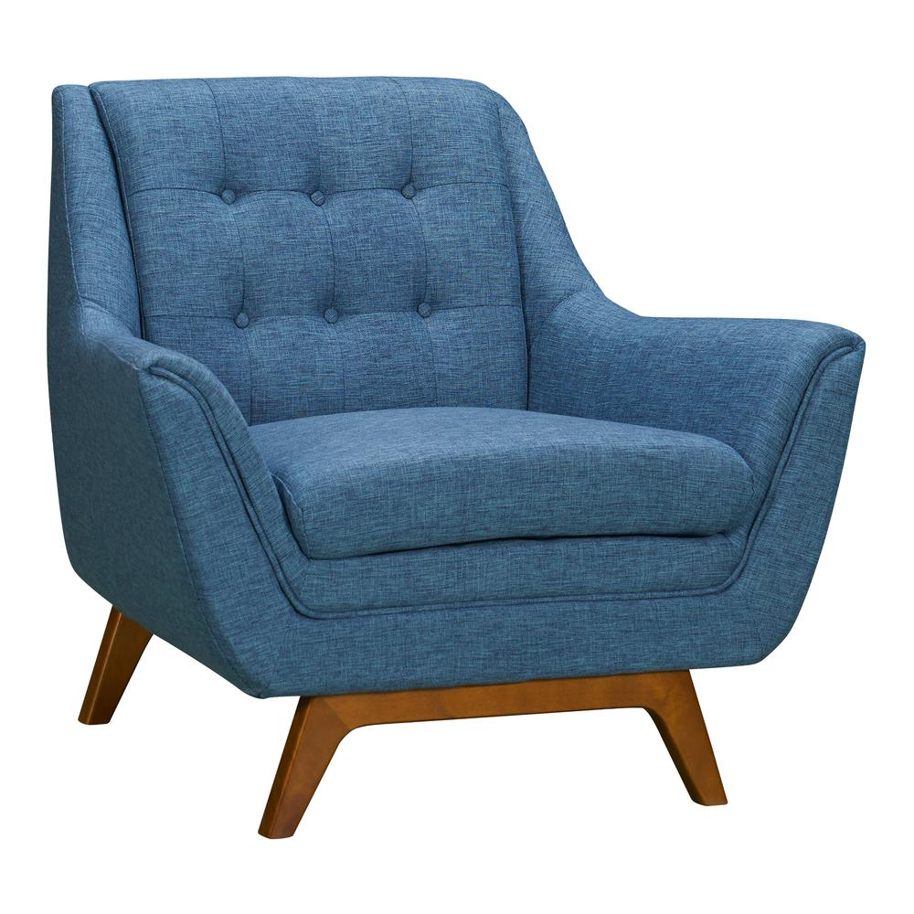 Mid-Century Sofa Chair in Champagne Wood Finish and Blue Fabric. Picture 1