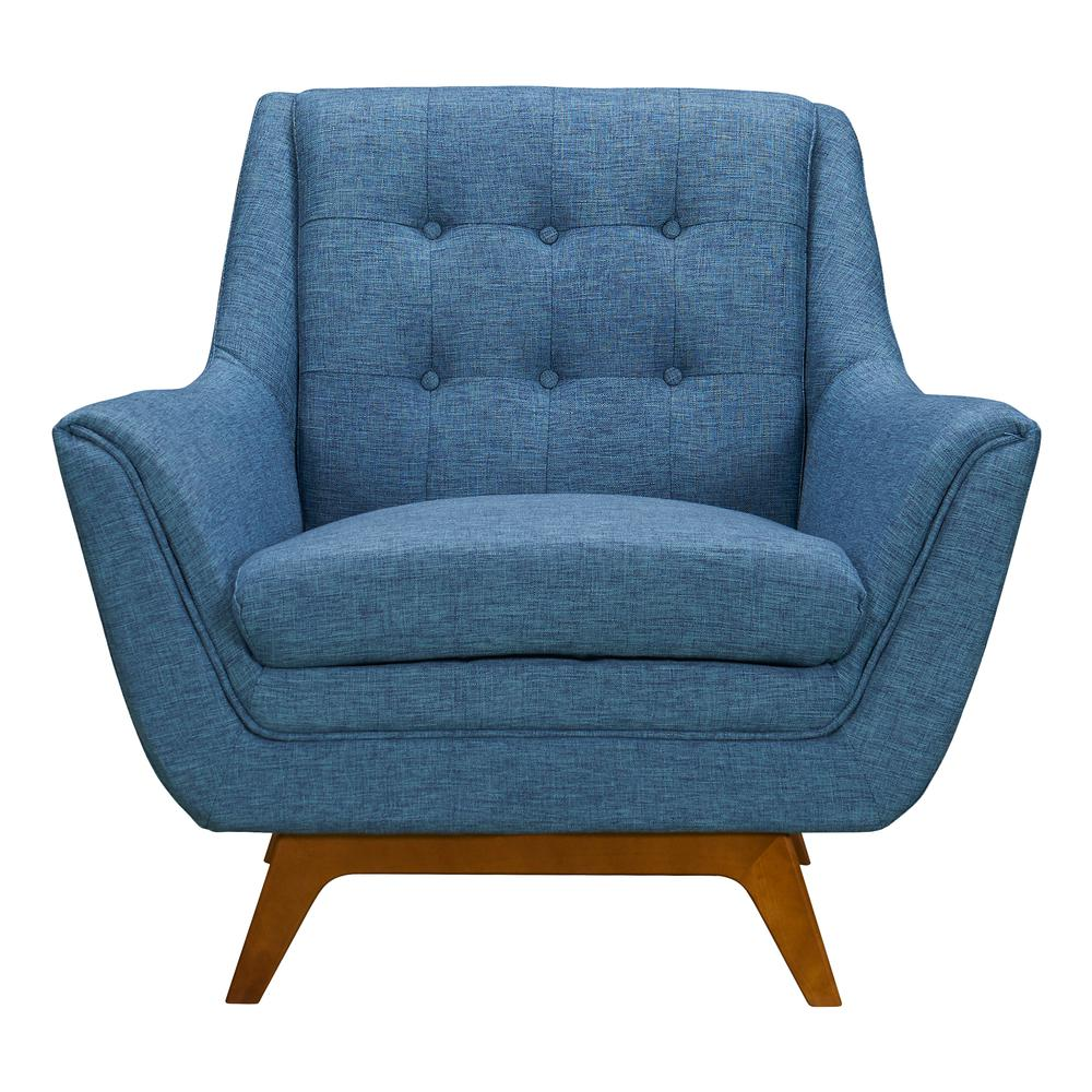 Mid-Century Sofa Chair in Champagne Wood Finish and Blue Fabric. Picture 2