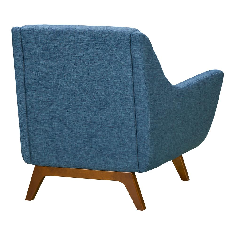 Mid-Century Sofa Chair in Champagne Wood Finish and Blue Fabric. Picture 3