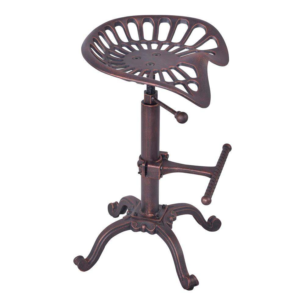 Industrial Adjustable Tractor Barstool in Industrial Copper. Picture 1