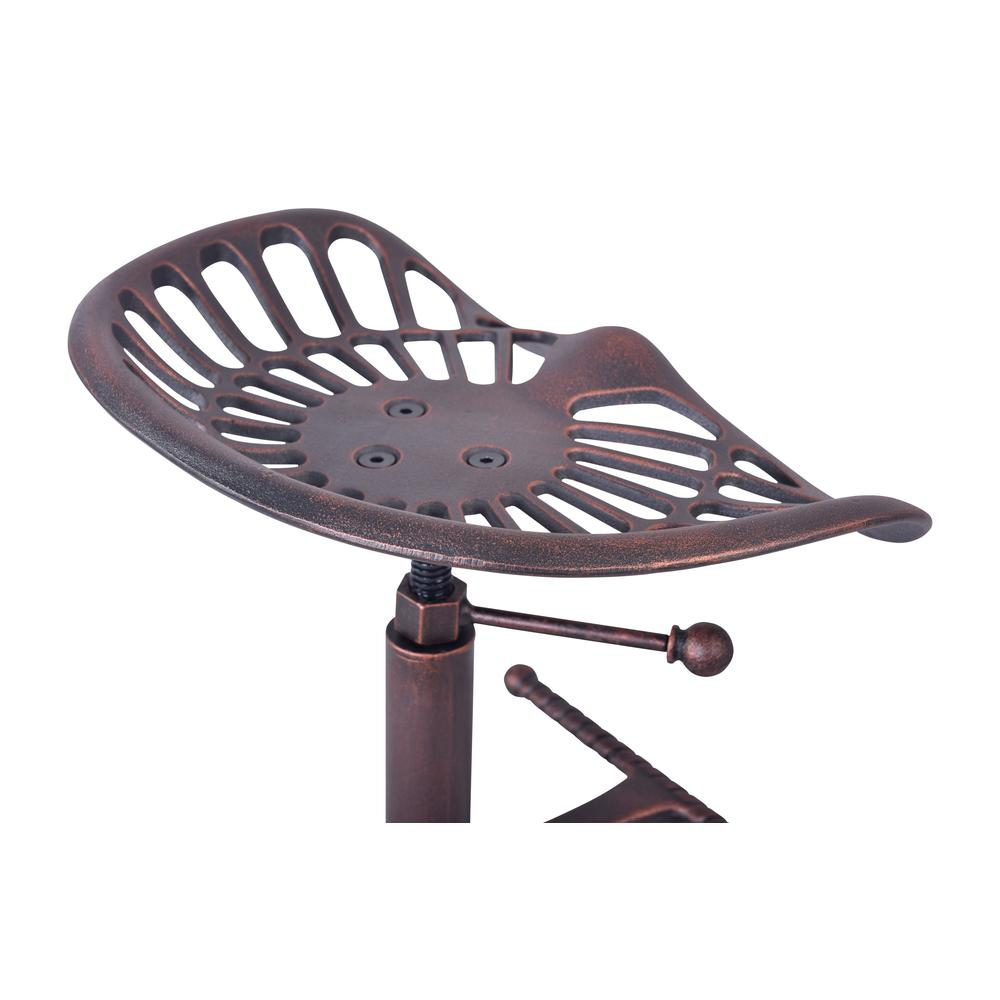 Industrial Adjustable Tractor Barstool in Industrial Copper. Picture 6