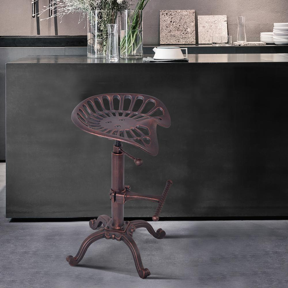 Industrial Adjustable Tractor Barstool in Industrial Copper. Picture 8
