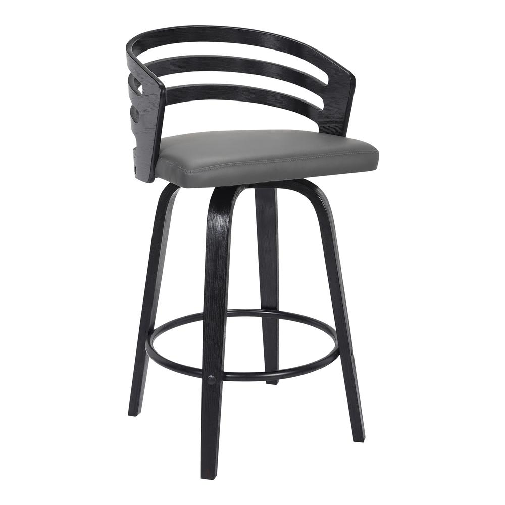 "Contemporary 26"" Counter Height Swivel Barstool in Black Brush Wood Finish and Grey Faux Leather. Picture 1"