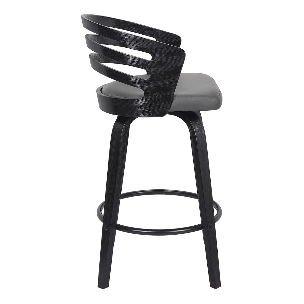 "Contemporary 26"" Counter Height Swivel Barstool in Black Brush Wood Finish and Grey Faux Leather. Picture 2"
