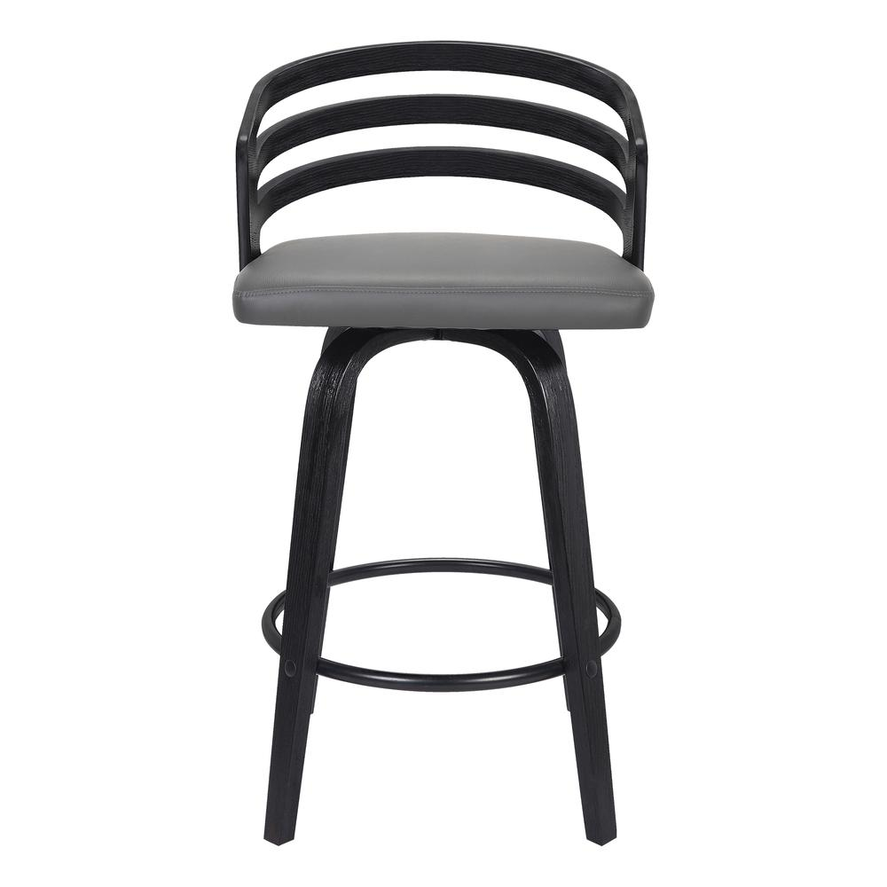 "Contemporary 26"" Counter Height Swivel Barstool in Black Brush Wood Finish and Grey Faux Leather. Picture 3"