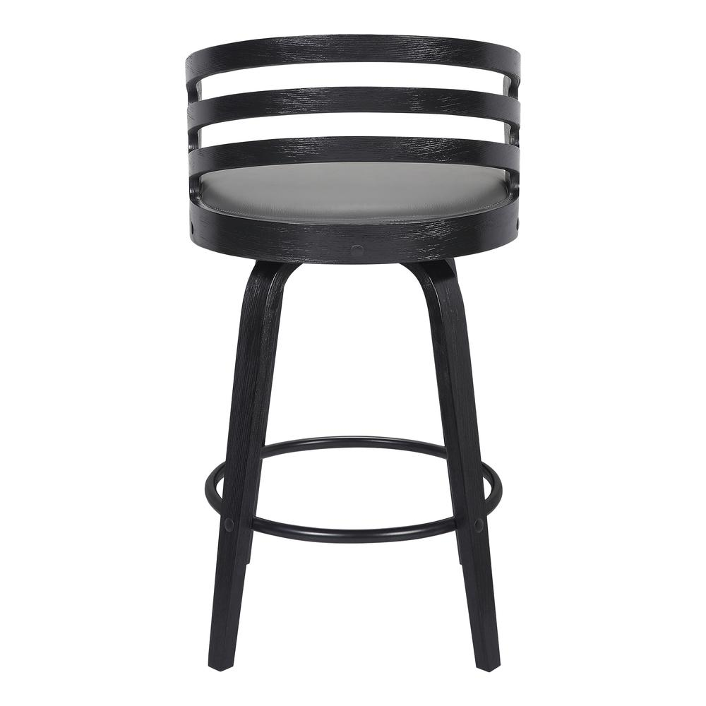"Contemporary 26"" Counter Height Swivel Barstool in Black Brush Wood Finish and Grey Faux Leather. Picture 4"