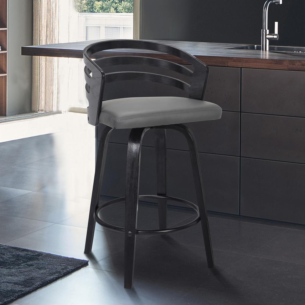 "Contemporary 26"" Counter Height Swivel Barstool in Black Brush Wood Finish and Grey Faux Leather. Picture 6"