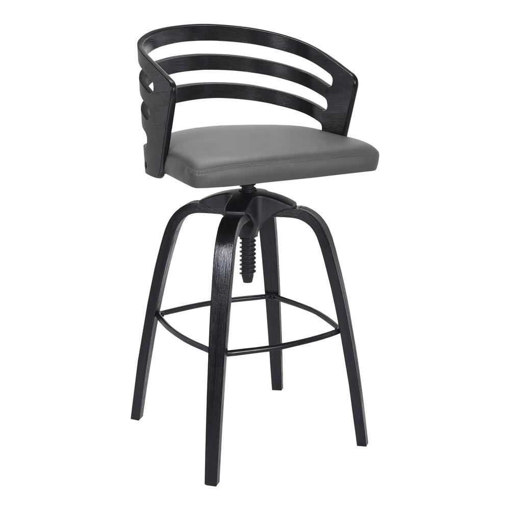 Contemporary Adjustable Barstool in Black Brushed Wood Finish - Grey Faux Leather. Picture 1