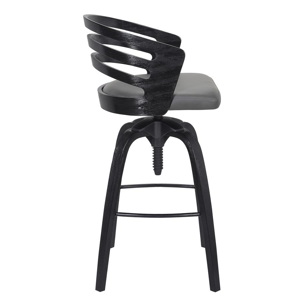 Contemporary Adjustable Barstool in Black Brushed Wood Finish - Grey Faux Leather. Picture 3