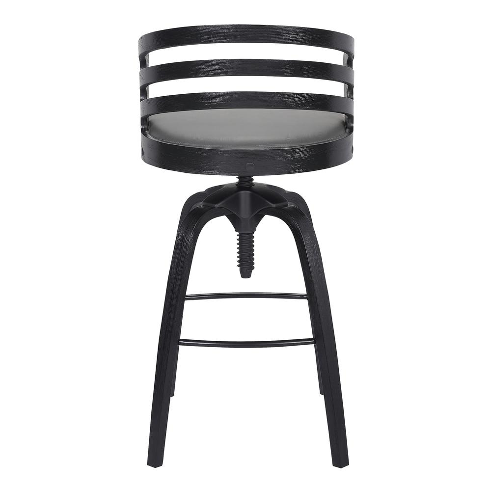 Contemporary Adjustable Barstool in Black Brushed Wood Finish - Grey Faux Leather. Picture 4