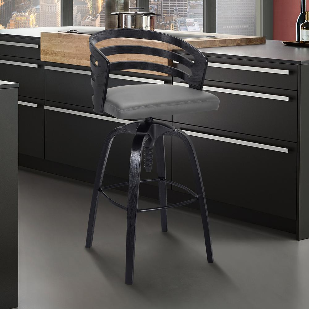 Contemporary Adjustable Barstool in Black Brushed Wood Finish - Grey Faux Leather. Picture 6
