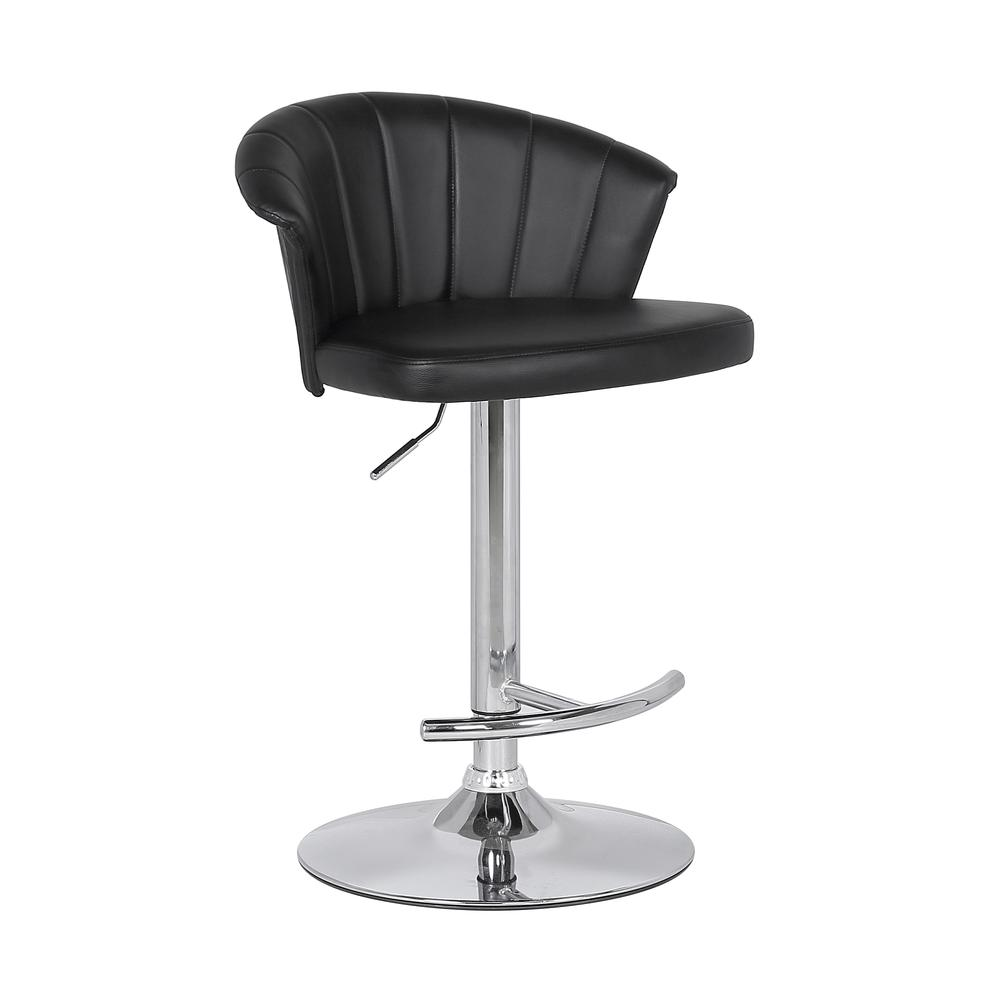 Adjustable Modern Black Faux Leather Bar Stool