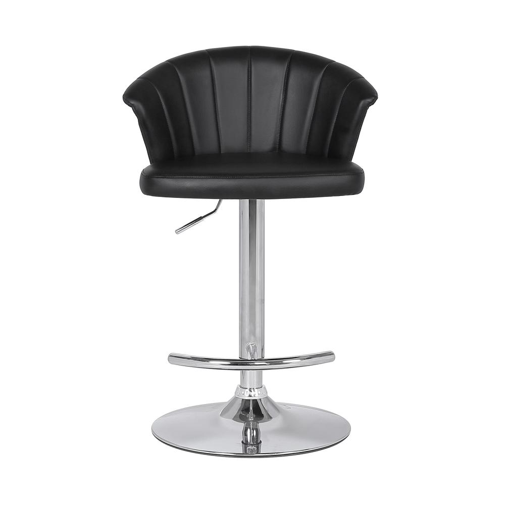 Adjustable Modern Black Faux Leather Bar Stool. Picture 2