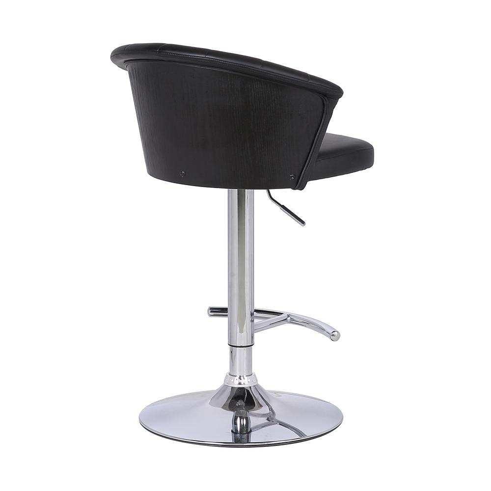 Adjustable Modern Black Faux Leather Bar Stool. Picture 4