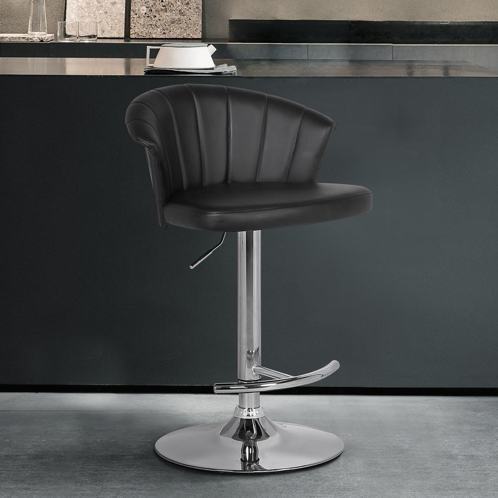 Adjustable Modern Black Faux Leather Bar Stool. Picture 6