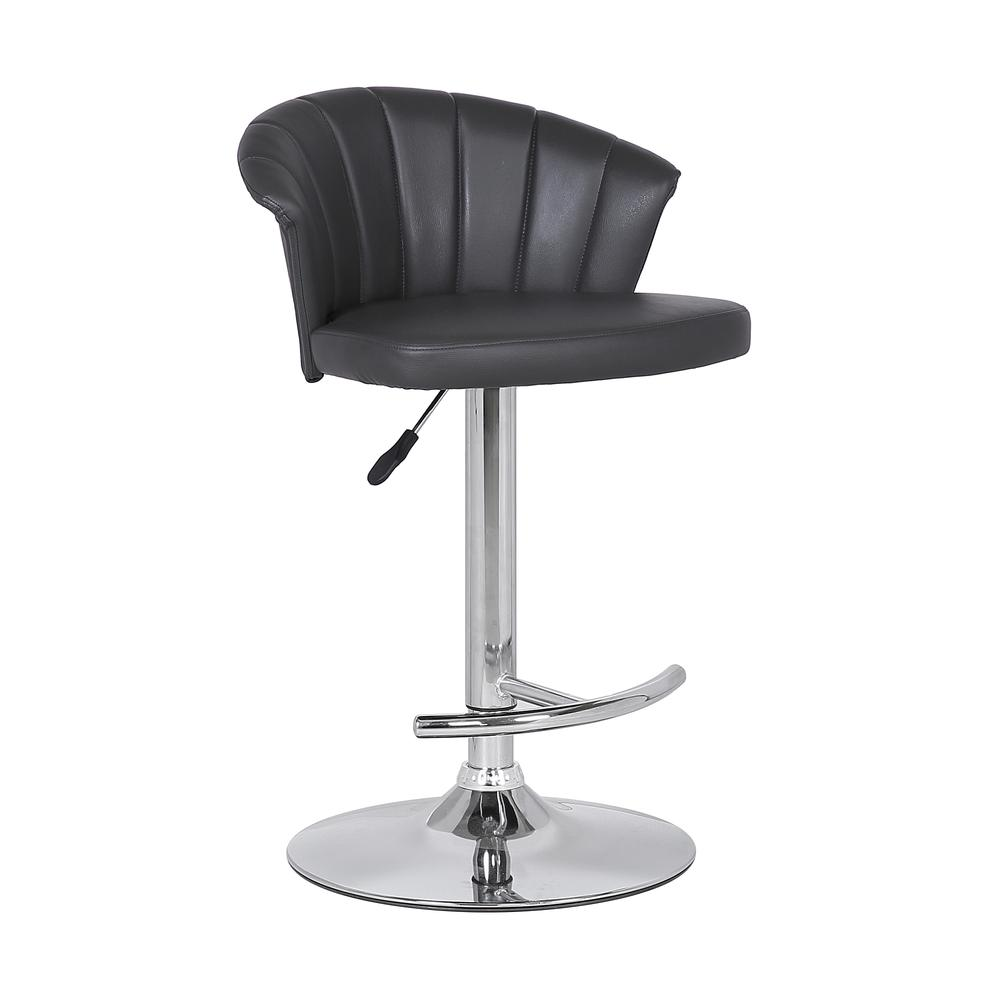 Adjustable Modern Grey Faux- Leather Bar Stool. Picture 1
