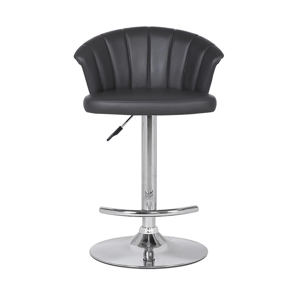 Adjustable Modern Grey Faux- Leather Bar Stool. Picture 2