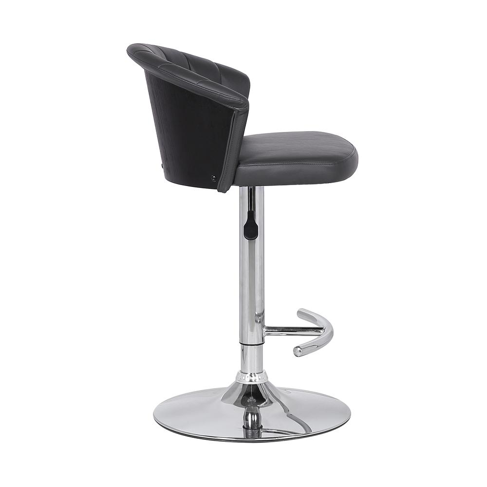 Adjustable Modern Grey Faux- Leather Bar Stool. Picture 3