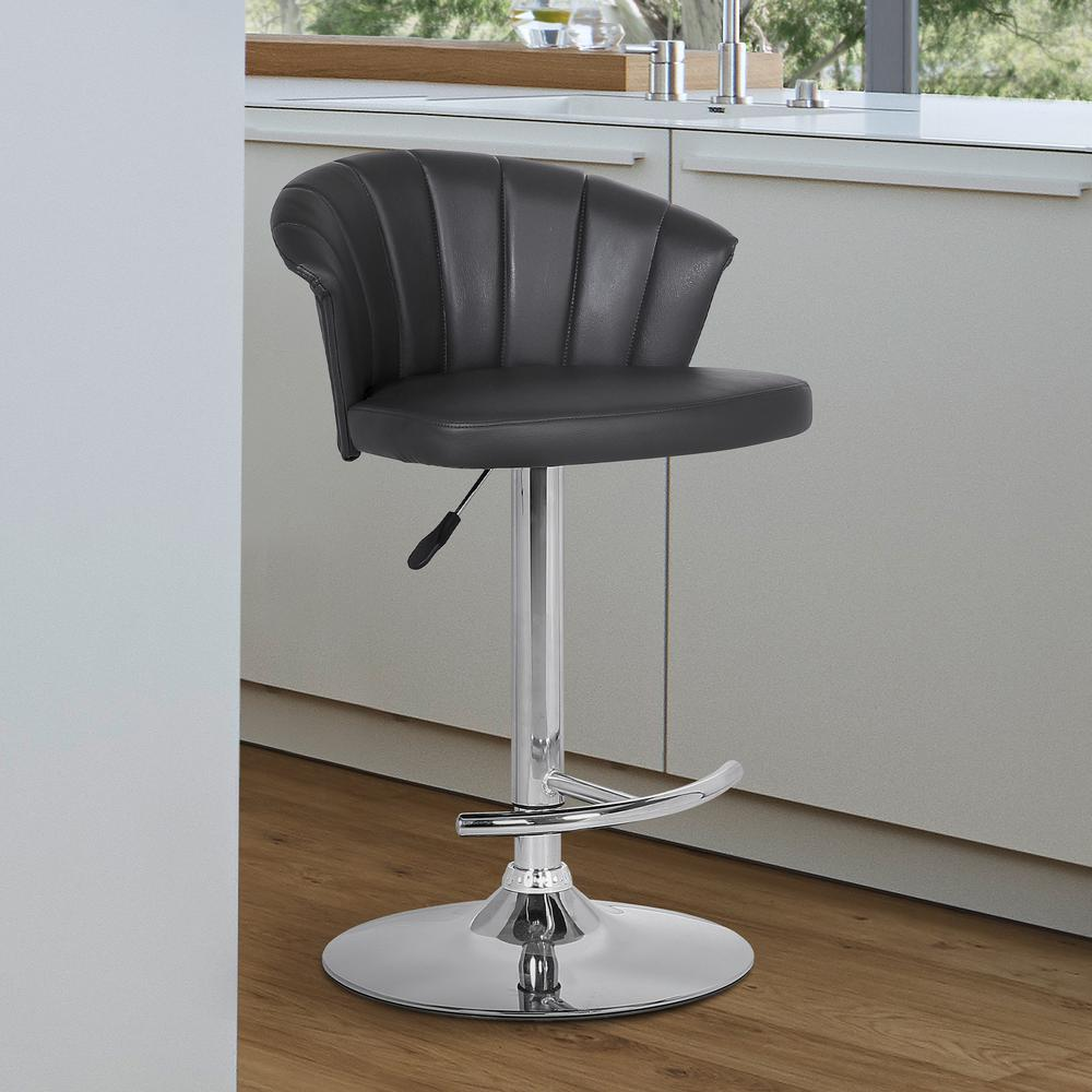 Adjustable Modern Grey Faux- Leather Bar Stool. Picture 6
