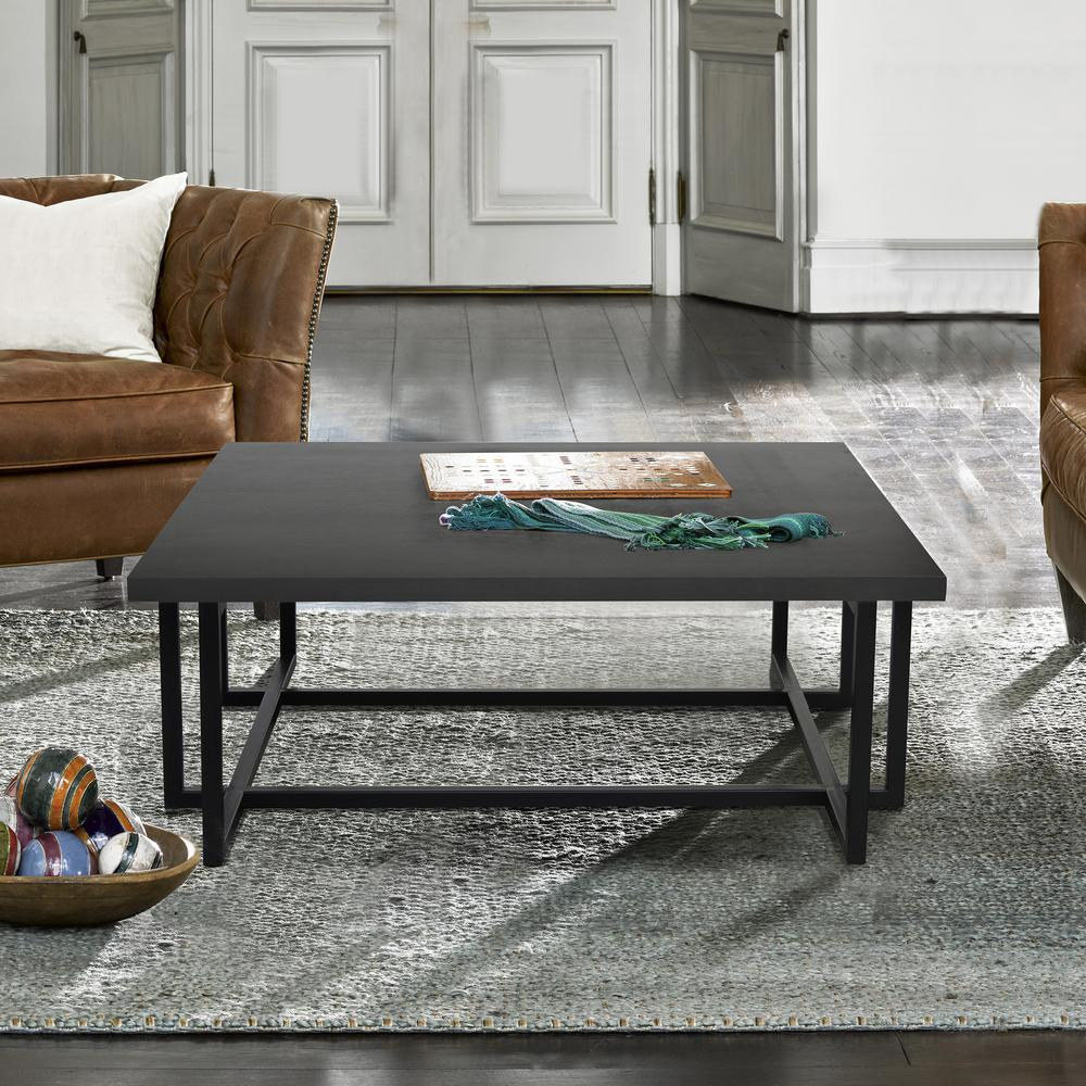 Contemporary Coffee Table with Black Iron Finish and Grey Wood Top. Picture 2