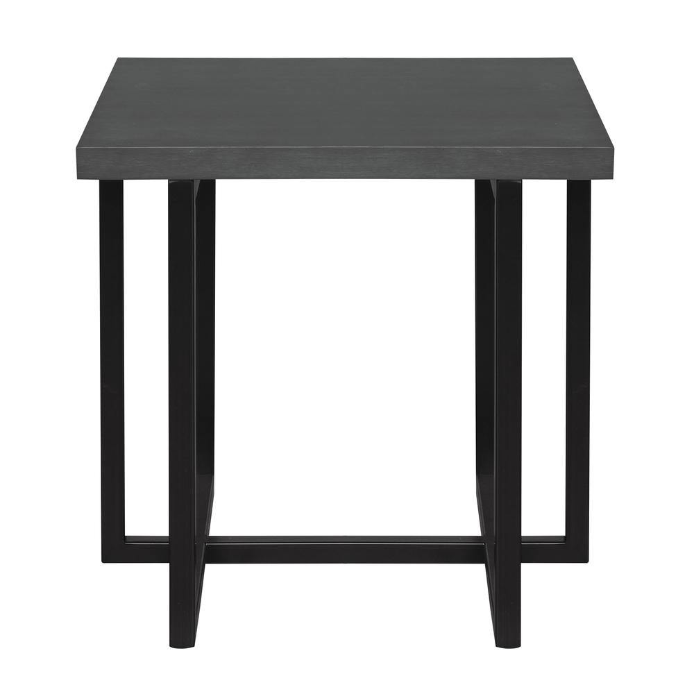 Contemporary End Table with Black Iron Finish and Grey Wood Top. Picture 1
