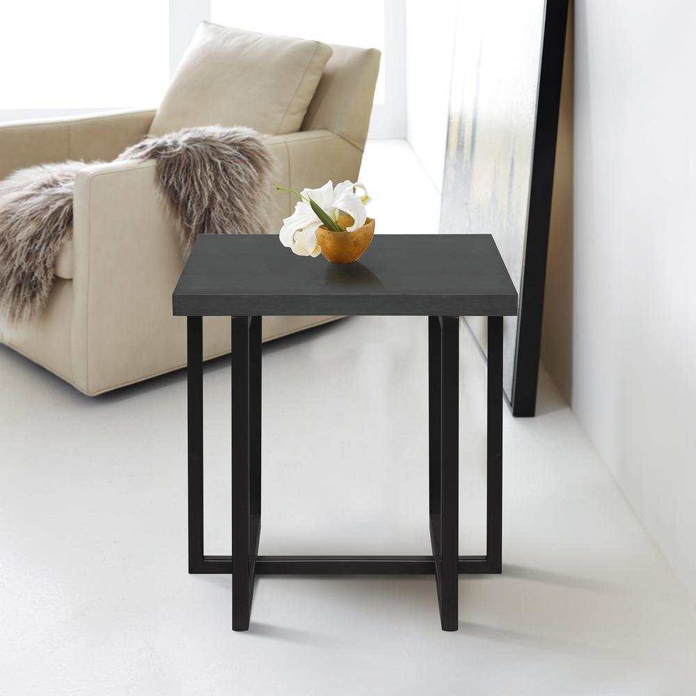 Contemporary End Table with Black Iron Finish and Grey Wood Top. Picture 2