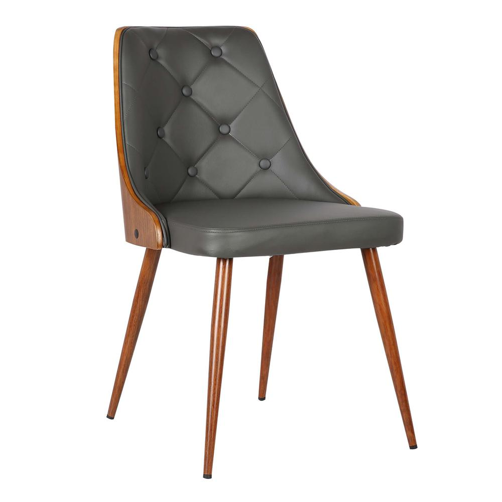 Mid-Century Dining Chair in Walnut Finish and Gray Faux Leather. Picture 1