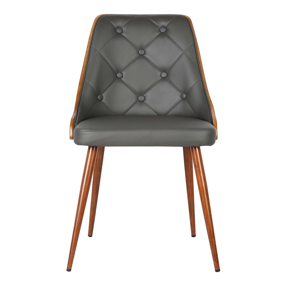 Mid-Century Dining Chair in Walnut Finish and Gray Faux Leather. Picture 2