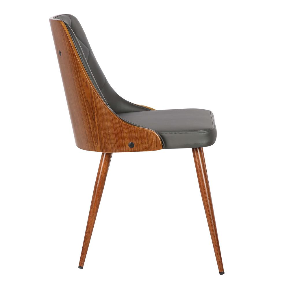 Mid-Century Dining Chair in Walnut Finish and Gray Faux Leather. Picture 3