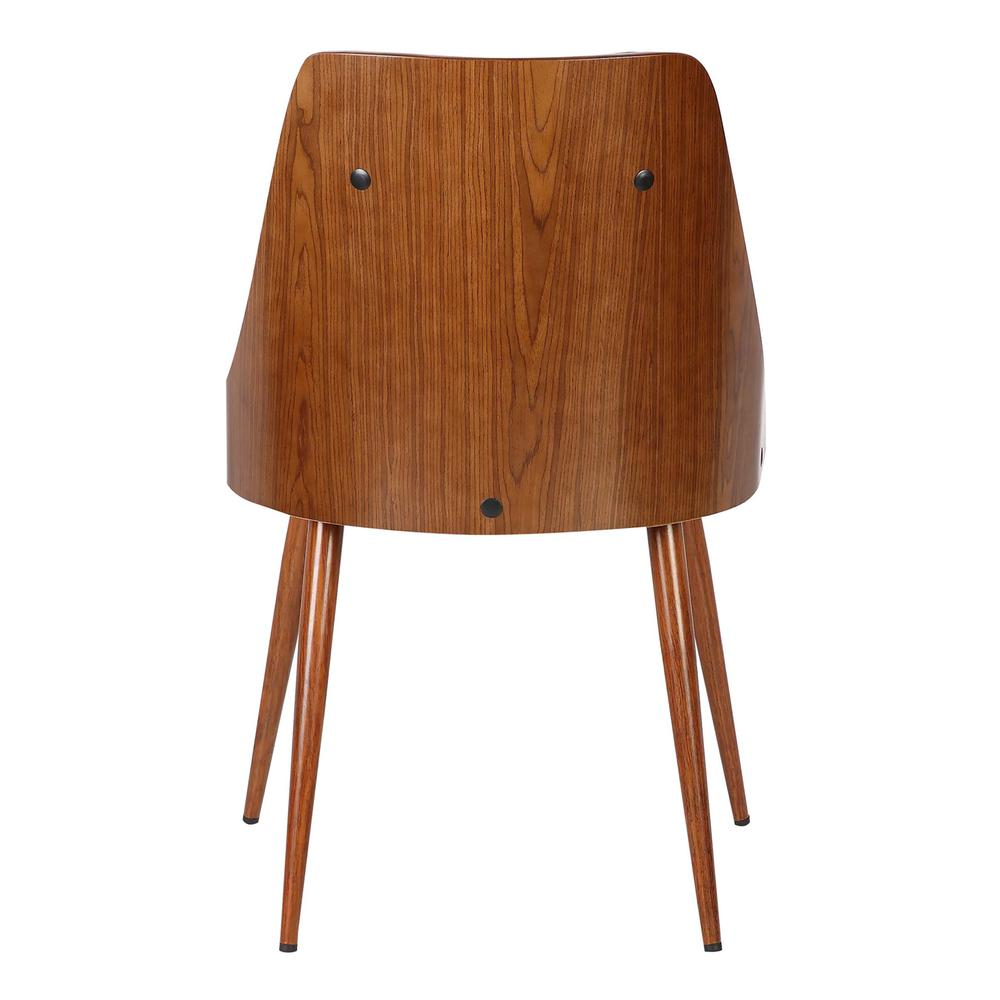Mid-Century Dining Chair in Walnut Finish and Gray Faux Leather. Picture 4