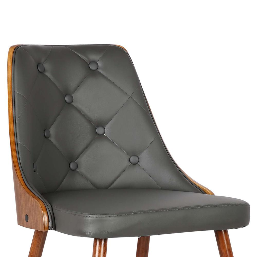 Mid-Century Dining Chair in Walnut Finish and Gray Faux Leather. Picture 5