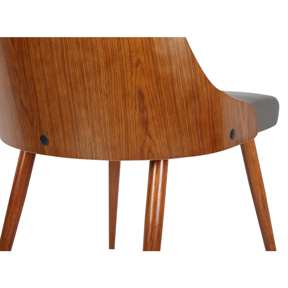 Mid-Century Dining Chair in Walnut Finish and Gray Faux Leather. Picture 6